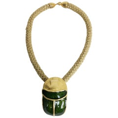 Scarab pendant necklace large green and gold enamel