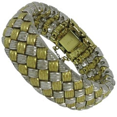 Ciner Silver and Gold Basket Weave Bracelet