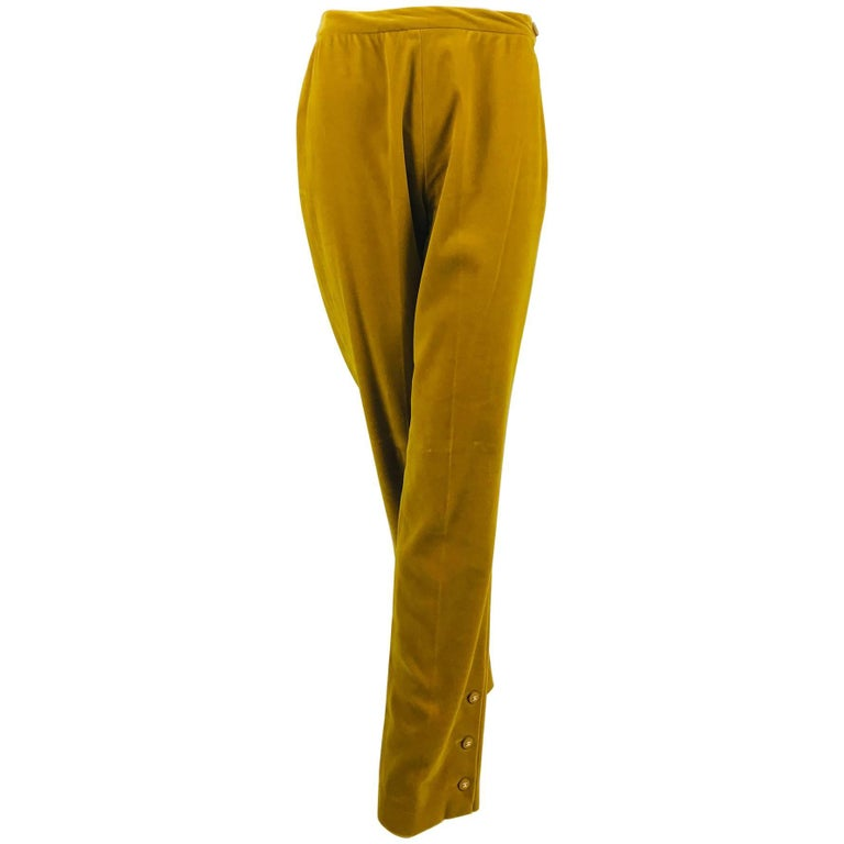 Chanel golden yellow velvet trousers with ankle buttons 1990s For Sale