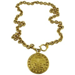 Chanel Vintage Gold Toned Coat of Arms Pendant Necklace