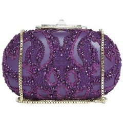 ELIE SAAB Minaudière in Purple Leather and Embroidered Fabric with Pearls