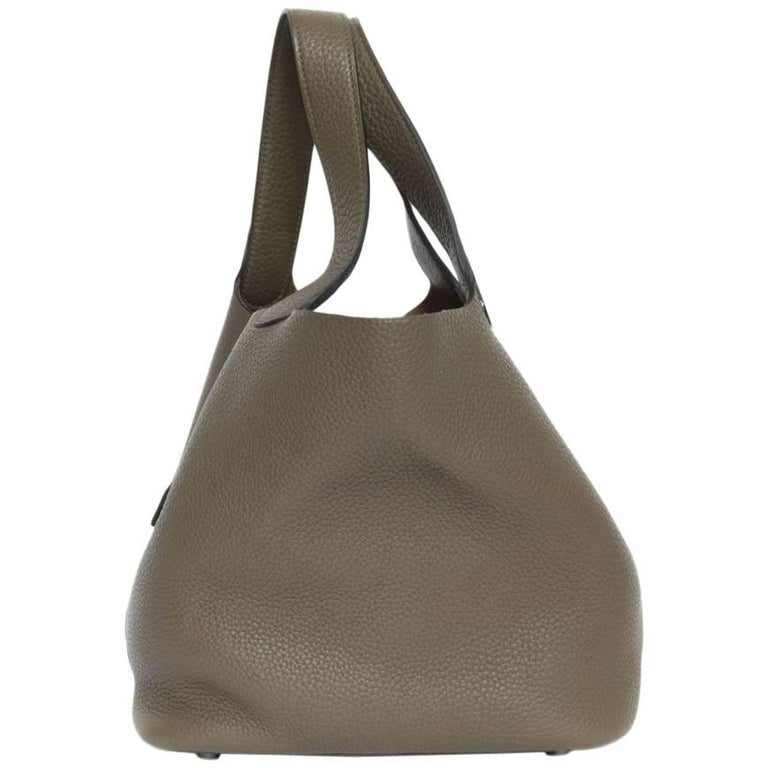 "Hermes ""Picotin Lock"" Bag in Taupe taurillon Leather"
