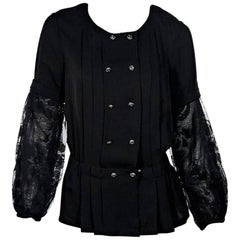 Chanel Black Pleated and Lace Blouse