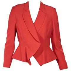 Alexander McQueen Red Peplum Blazer