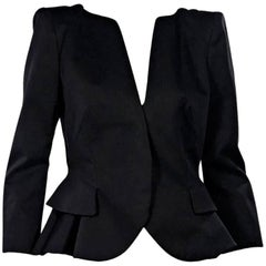 Alexander McQueen Black Peplum Blazer
