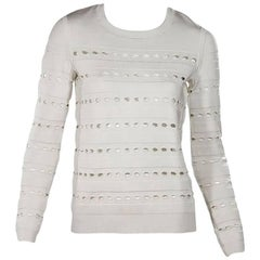 Herve Leger White Cutout Sweater