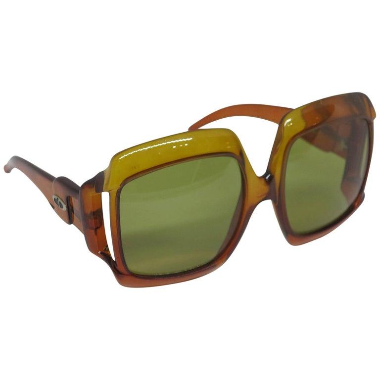 Christian Dior Dark Amber Big Square sunglasses, 1970s For Sale