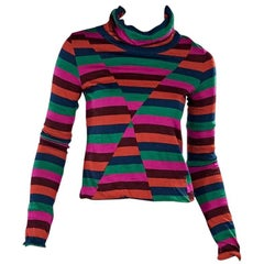 Multicolor Striped Turtleneck