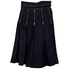 Chanel Navy Blue Pleated Skirt