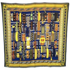 HERMES Shawl 'Collier de chien' in Yellow and Blue Cashmere and Silk