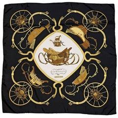 Hermes Vintage Black Springs Silk Scarf
