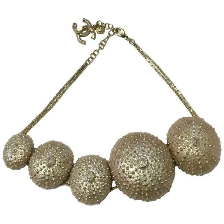 """Chanel """"Sea Urchins"""" Paris - Saint-Tropez Collection Gilded Metal Necklace For Sale"""