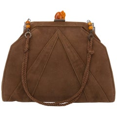 A 1920s Art Deco Suede Evening Handbag with Amber Details