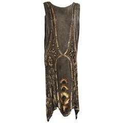 Art Deco 1920's Black and Gold Evening Dress, Hand Beaded, Larger Size