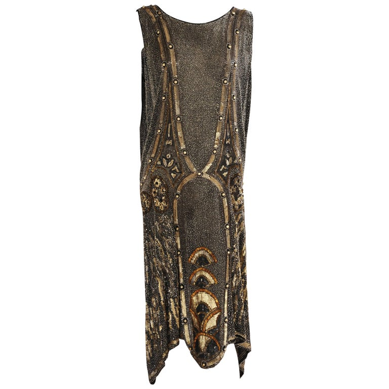 Art Deco 1920's Black and Gold Evening Dress, Hand Beaded, Larger Size For Sale