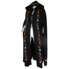 Black Embroidered Vintage Cape with Hood