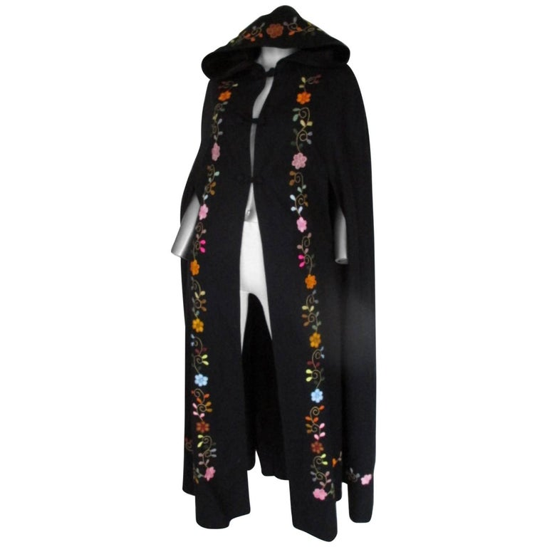 Black Embroidered Vintage Cape with Hood For Sale