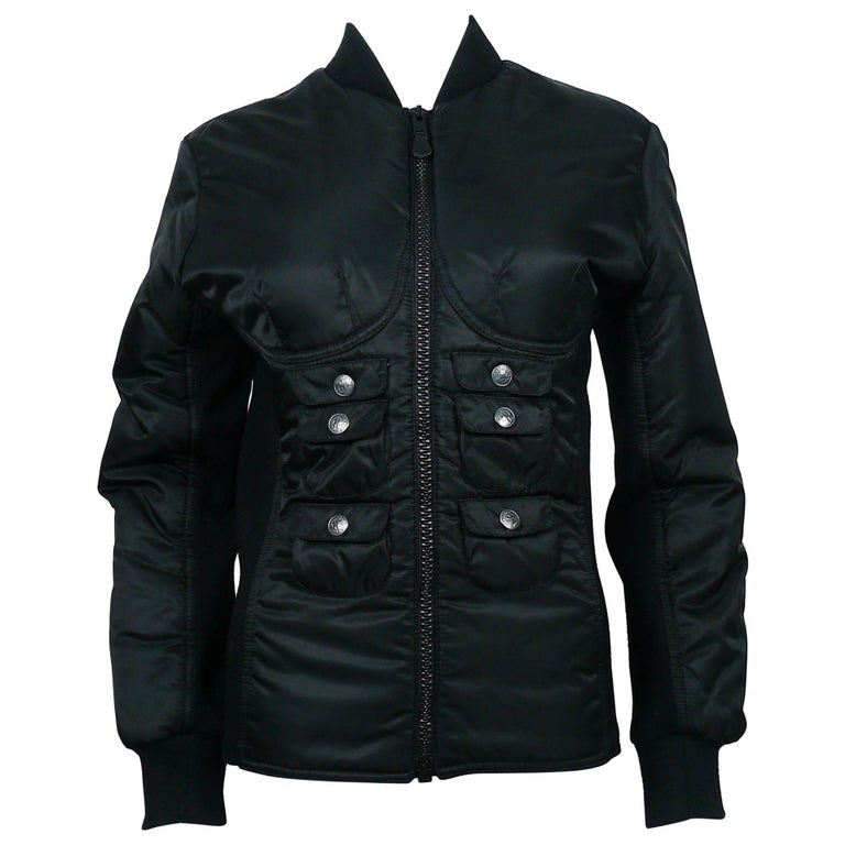 "Jean Paul Gaultier Vintage Black ""Torso"" Bomber Jacket"