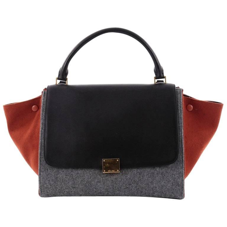 dda68a32b8d7 Celine Tricolor Trapeze Handbag Leather and Felt Medium at 1stdibs