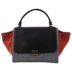 Celine Tricolor Trapeze Handbag Leather and Felt Medium