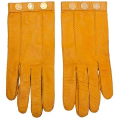 Hermes Leather and Gilt Metal Gloves