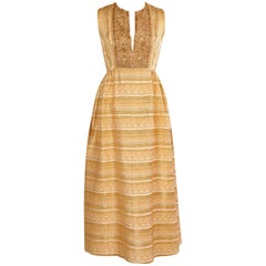 Bonwit Teller Gold Lame Dress with Metallic Gold Beaded Low Cut Bodice, 1960s