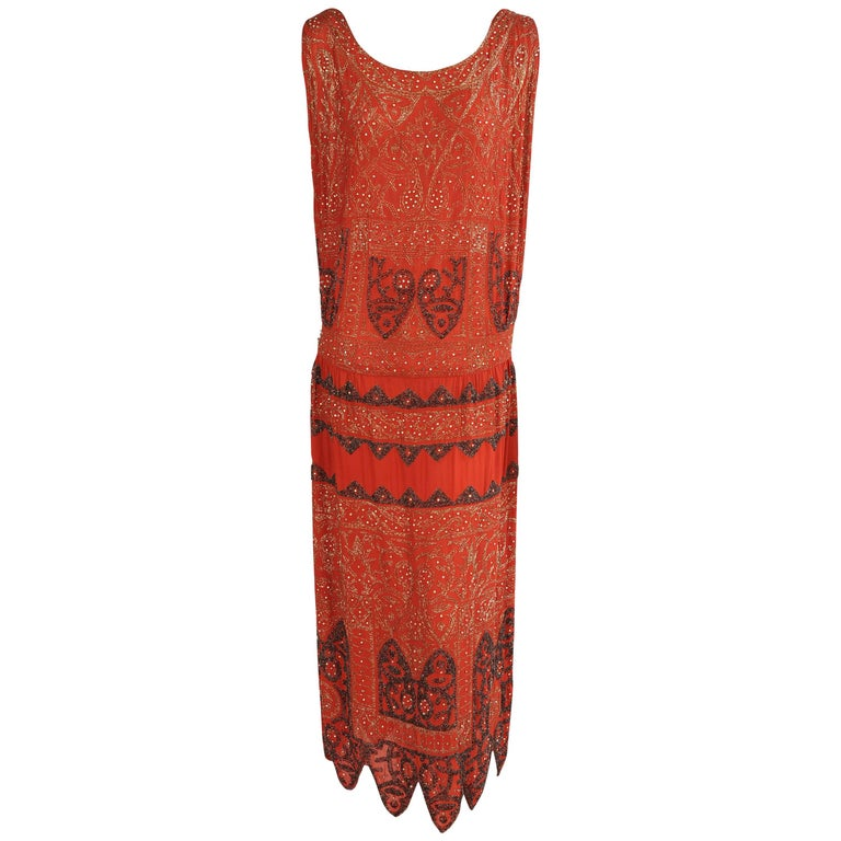 1920's Beaded and Embroidered Red Evening Dress, Rare Larger Size