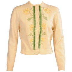 Embroidered and Ribbon Trimmed Ivory Sweater, 1950s