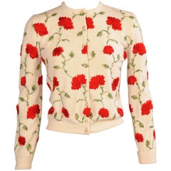 1950's Embroidered Cardigan Sweater Red and Green Flowers