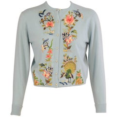 Helen Bond Carruthers Cashmere Sweater with Appliqued Chinese Hand Embroidery