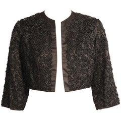 Black Silk Jacket with Lavish Black Floral Beadwork