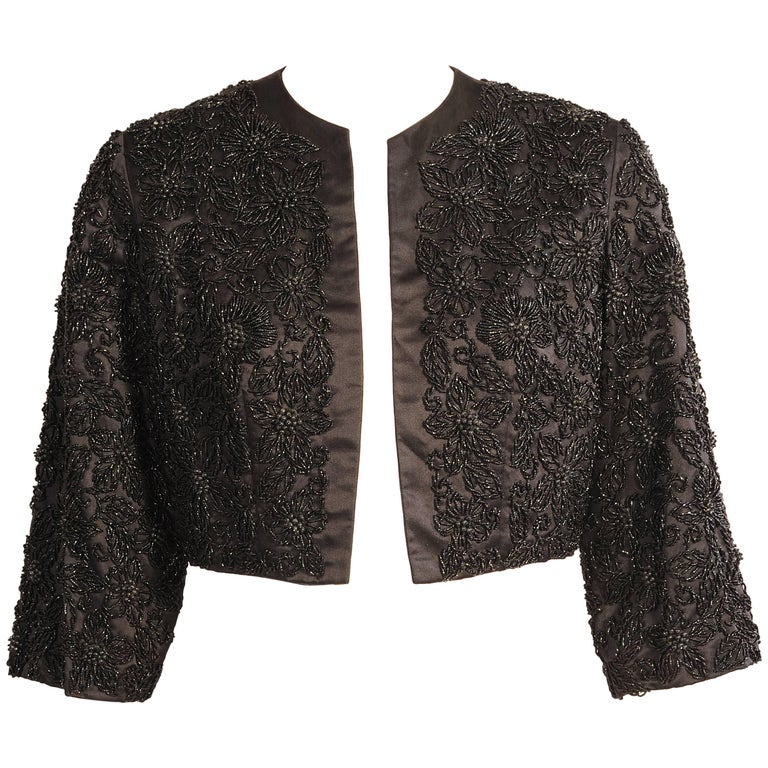 Black Silk Jacket with Lavish Black Floral Beadwork For Sale