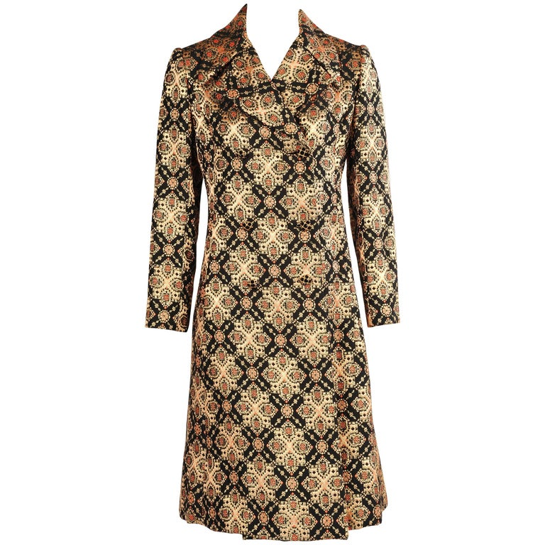 Malcolm Starr Woven Black Peach Coral and Gold Lame Coat, 1960s  For Sale
