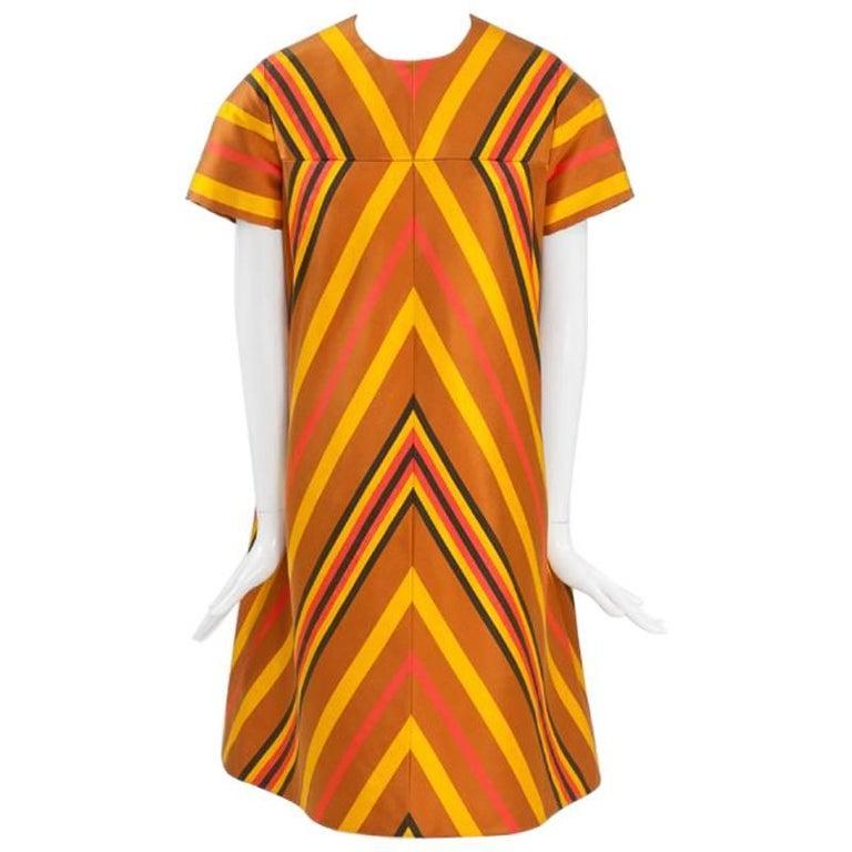 Guy Laroche Haute Couture Silk Dress, Spring-Summer 1967 For Sale