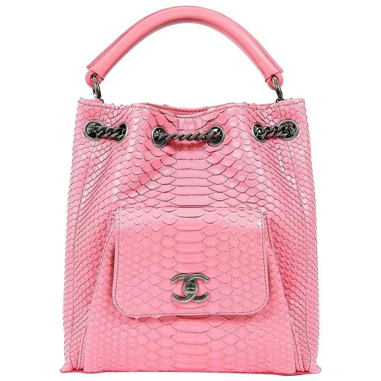 Chanel Pink Python Backpack For Sale