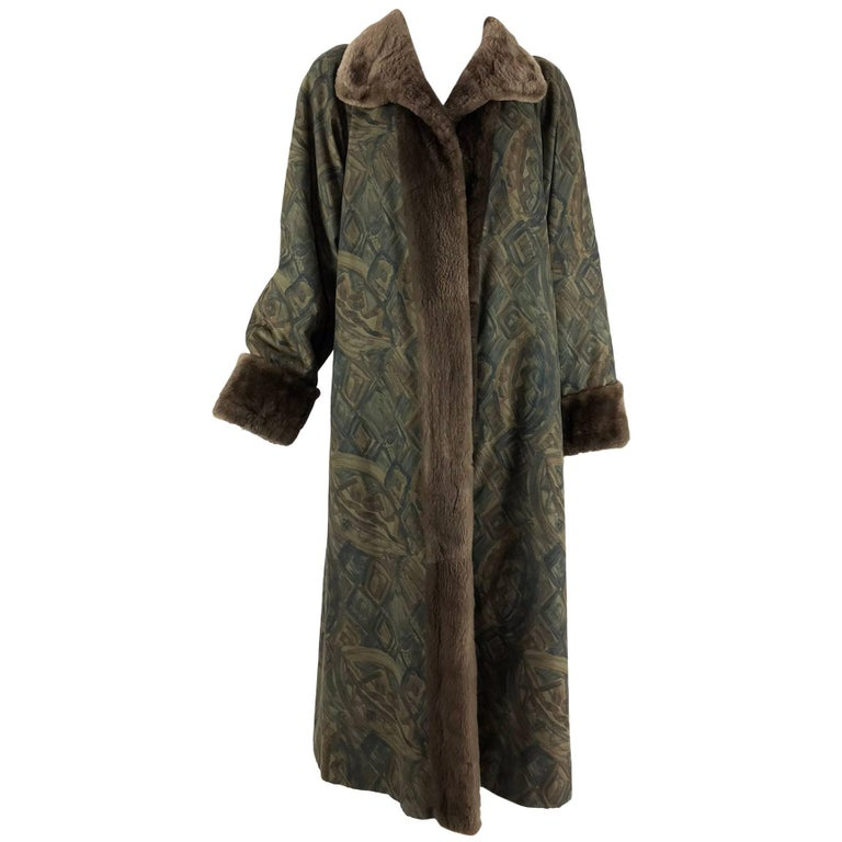Vintage Anne Klein Reversible sheared beaver and fabric coat 1990s