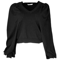 Givenchy Black Wool V-Neck Sweater Sz M