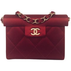 Coveted Chanel Ruby Red Silk Satin Structured Evening Hand Bag Serial 9319336