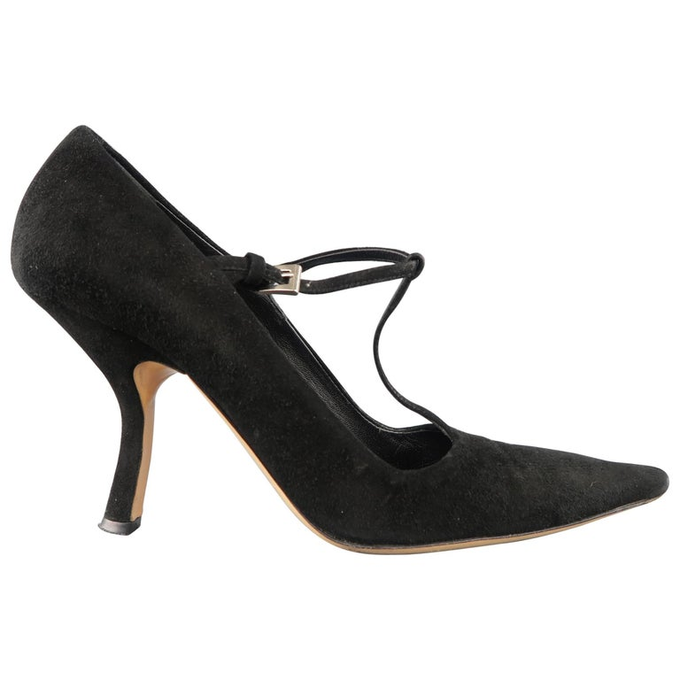PRADA Size 8 Black Suede Pointed Cuved Heel T-strap Pumps