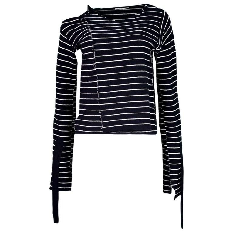 Distressed Celine Navy & White Stripe Top Sz M