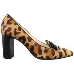 PRADA Size 7 Leopard Pony Hair Chunky Heel Bow Pumps