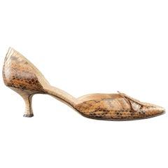 MANOLO BLAHNIK Size 9 Tan Snakeskin D'Orsay TONODO Kitten Heel Pump