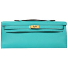 Hermes Blue Paon Kelly Cut Clutch with Gold Hardware