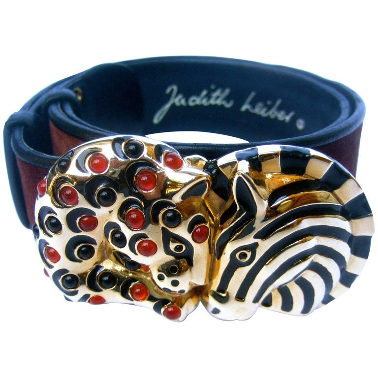 Judith Leiber Jeweled Jungle Animal Brown Suede Belt in J.L. Box