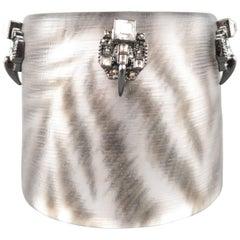 Alexis Bittar Silver Zebra Lucite Rhinestone Santa Fe Deco Cuff Bracelet