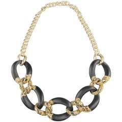 Alexis Bittar Black Lucite and Gold Rhinestone Metal Chain Necklace