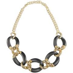 ALEXIS BITTAR Black Lucite & Gold Rhinestone Metal Chain Necklace