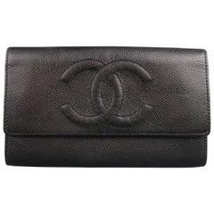 Vintage CHANEL Black Caviar Leather CC Logo Envelope Wallet