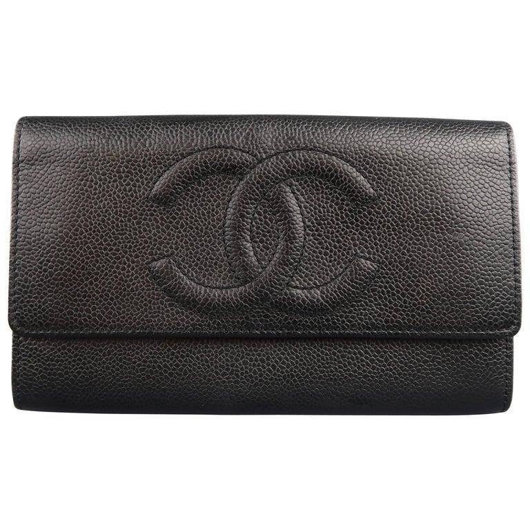 b7ec4e9f Vintage CHANEL Black Caviar Leather CC Logo Envelope Wallet