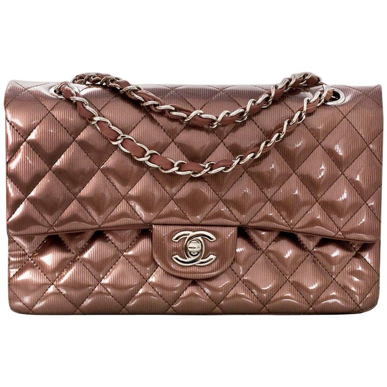 "Chanel Rose Fonce Quilted Striated Patent 10"" Medium Double Flap Classic Bag"